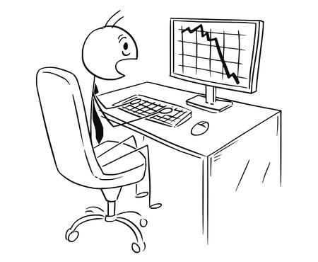 Cartoon stick man drawing conceptual illustration of businessman working on computer and chocked by graph or chart falling down. Business concept of profit, market or cost.