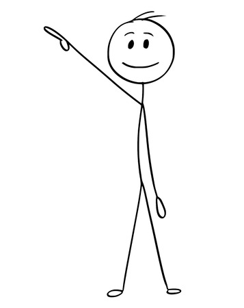 Cartoon stick man drawing conceptual illustration of businessman pointing right and up or above him.