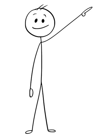 Cartoon stick man drawing a conceptual illustration of pointing left and up or above him.