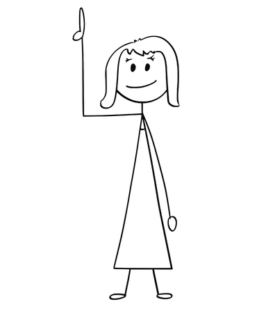 Cartoon stick man drawing conceptual illustration of businesswoman or woman pointing up or above her.