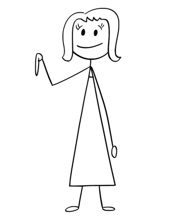 Cartoon stick drawing a conceptual illustration of businesswoman or woman pointing down or under her. Ilustração