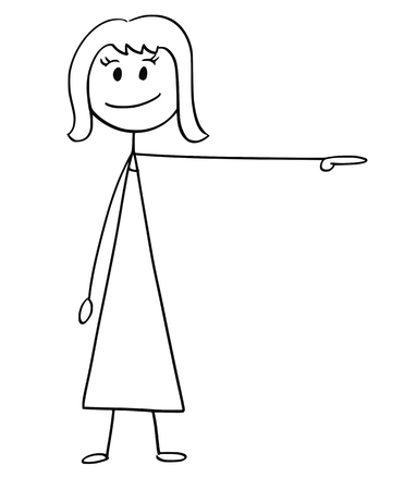 Cartoon stick drawing, a conceptual illustration of businesswoman or woman pointing left.