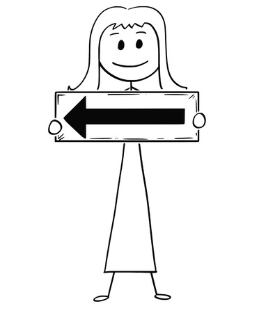 Cartoon stick drawing, a conceptual illustration of businesswoman or woman holding arrow sign pointing left.