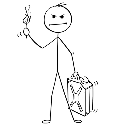 Cartoon stick man drawing of a conceptual illustration of an angry businessman holding petrol or gas jerry can and flaming match. 写真素材 - 96620302
