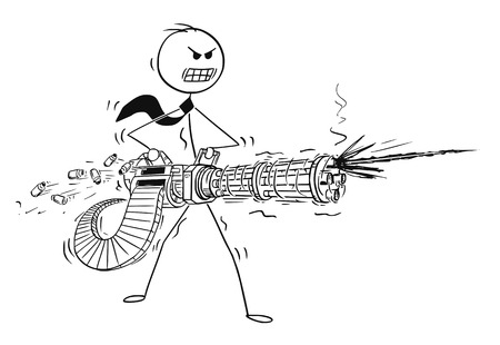 Cartoon stick man drawing of a conceptual illustration of angry businessman shooting from rotary machine gun cannon. Business concept of stress and anger.