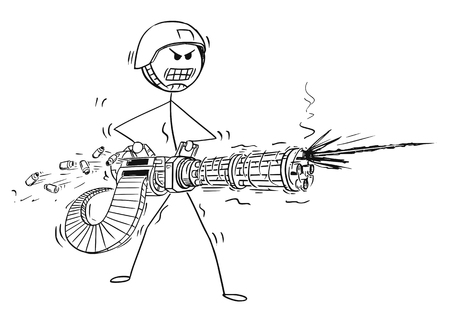 Cartoon stick man drawing of a conceptual illustration of a soldier shooting from Rotary Machine Gun Cannon. Stock Illustratie