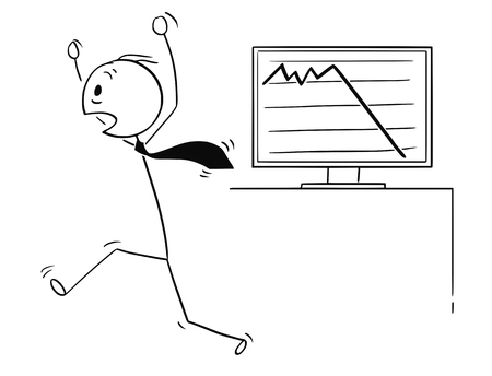 Cartoon stick man drawing, a conceptual illustration of a scared businessman running in panic by low profit or price chart. Business concept of sensitive market and crisis.