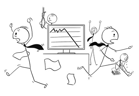 Cartoon stick man drawing of a conceptual illustration of scared businessmen running in panic, crying or committing suicide by low profit or price chart. Business concept of sensitive market and crisis.