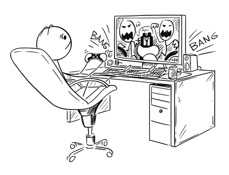 Cartoon stick man drawing conceptual illustration of man or boy playing computer game.