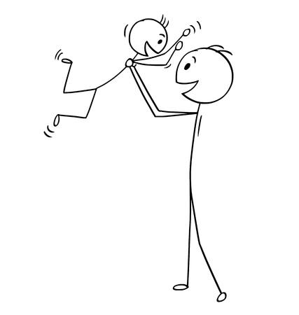 Cartoon stokmens tekening concept illustratie van vader en zoon genieten, samen spelen.
