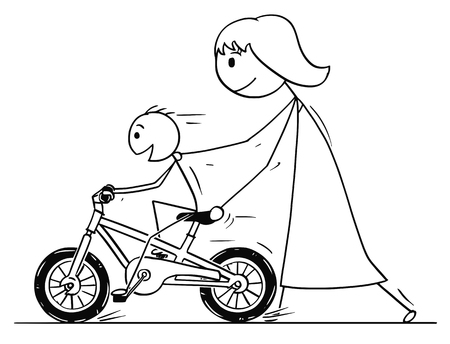 Cartoon stick man drawing conceptual illustration of mother teaching and son learning to ride a bicycle or bike. 일러스트