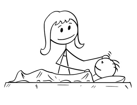 Cartoon stick man drawing conceptual illustration of mother or mom looking at sleeping son.