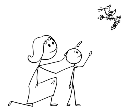Cartoon stick man drawing conceptual illustration of Mother and son watching together a wild bird in the nature. Illustration