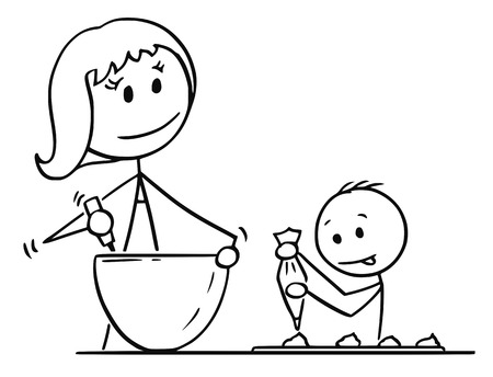 Cartoon stick man drawing conceptual illustration of mother or mom and son cooking or baking together in kitchen. Illustration