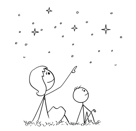 Cartoon stick man drawing conceptual illustration of mother or mom and son watching together night sky stars.