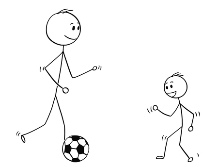Cartoon stick man drawing conceptual illustration of father or dad playing with son with soccer or football ball. Vectores