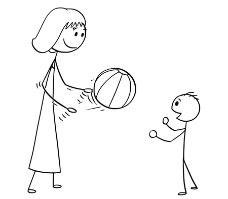 Cartoon stick man drawing, conceptual illustration of mother or mom playing with son with inflatable beach ball. Banco de Imagens - 96759046