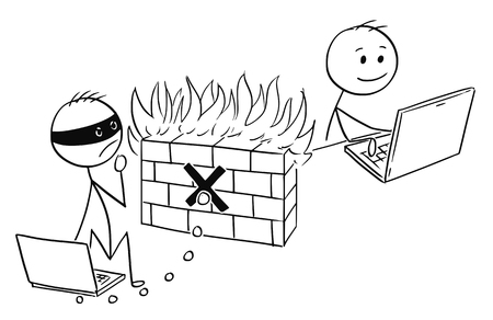 Cartoon stick man drawing, conceptual illustration of businessman working safely on computer while hacker cannot breach firewall software. Concept of internet and network security.