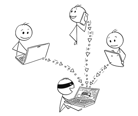 Cartoon stick man drawing, conceptual illustration of hacker stealing data from computer, tablet and smart phone. Concept of internet, network security.