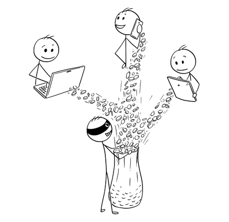 Cartoon stick man drawing, conceptual illustration of hacker stealing money or mining illegally cryptocurrency from computer, tablet and smart phone. Concept of internet, network security. Vettoriali