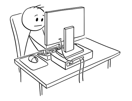 Cartoon stick man drawing, conceptual illustration of businessman working on desktop computer. Ilustração