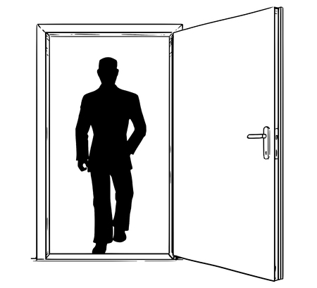 Cartoon stick man drawing, conceptual illustration of open modern door and businessman silhouette walking through or incoming. Business concept of decision, risk and challenge. Иллюстрация