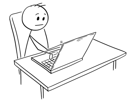 Cartoon stick man drawing, conceptual illustration of businessman working on notebook computer.