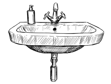 Hand drawing illustration of a sink