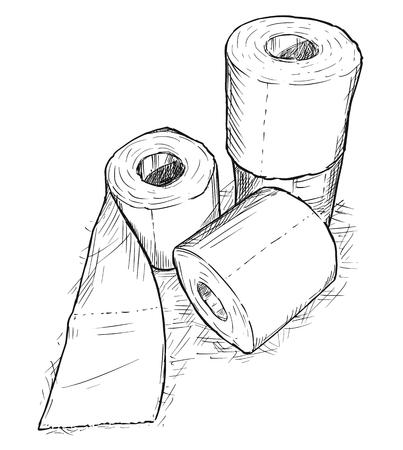 Hand drawing rolls of toilet paper Stock Illustratie