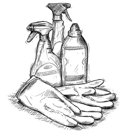 Vector artistic pen and ink hand drawing illustration of house cleaning products and rubber gloves. Illustration