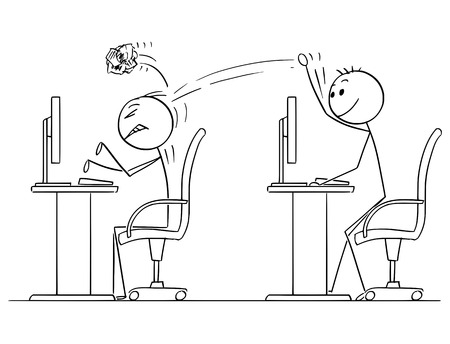 Cartoon stick man drawing conceptual illustration of businessman throwing crumpled paper ball on coworker working on computer. Business concept of bullying in job.