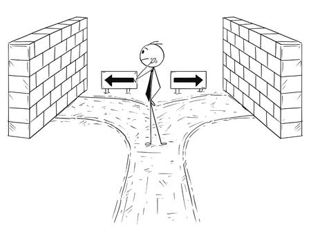 から選択する右のオプションを持たない行き止まりのビジネスマンの概念図を描く漫画スティックマン。キャリアと意思決定のビジネスコンセプト  イラスト・ベクター素材