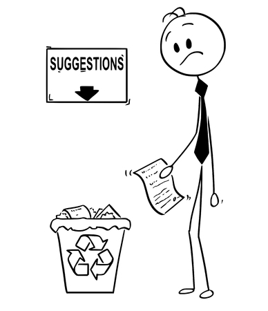 Cartoon stick man drawing conceptual illustration of businessman with paper document with great idea or invention looking confused on recycle trash bin with arrow and sign with suggestions text. Business concept of motivation and creativity.