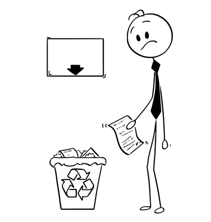 Cartoon stick man drawing conceptual illustration of businessman with paper document with great idea,suggestion or invention looking confused on recycle trash bin with arrow and empty sign. Business concept of motivation and creativity.