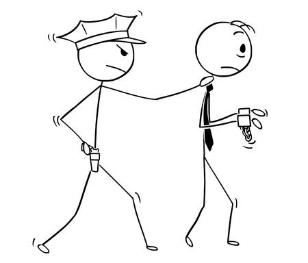 Homme de bâton de dessin animé dessin illustration conceptuelle d'homme d'affaires arrêté par un policier. Concept d'entreprise du crime et de la punition.