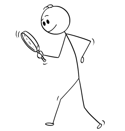 Cartoon stick man drawing conceptual illustration of businessman searching for something with magnifying hand glass or magnifier. Business concept of looking for answer and solution. Vettoriali