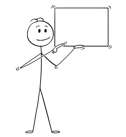 Cartoon stick man drawing conceptual illustration of businessman holding empty or blank sign and pointing. Ready for your text or icon. Stock Illustratie