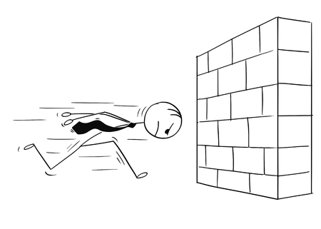 Cartoon stick man drawing conceptual illustration of headstrong businessman running against brick wall head first. Business concept of confidence and motivation.