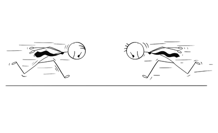 Cartoon stick man drawing conceptual illustration of two headstrong businessmen running against each other head first. Business concept of confidence, competition and motivation. 일러스트