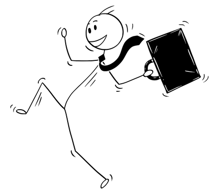 Cartoon stick man drawing conceptual illustration of happy dancing and jumping celebrating businessman. Business concept of success. Illustration
