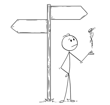 Cartoon stick man drawing conceptual illustration of businessman making decision by tossing, flipping or spinning a coin, standing on the crossroad with two empty arrow signs. Business concept of luck, coincidence and chance.