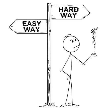 Cartoon stick man drawing conceptual illustration of businessman making decision by tossing, flipping or spinning a coin, standing on the crossroad with easy or hard way arrow sign. Business concept of luck, coincidence and chance.