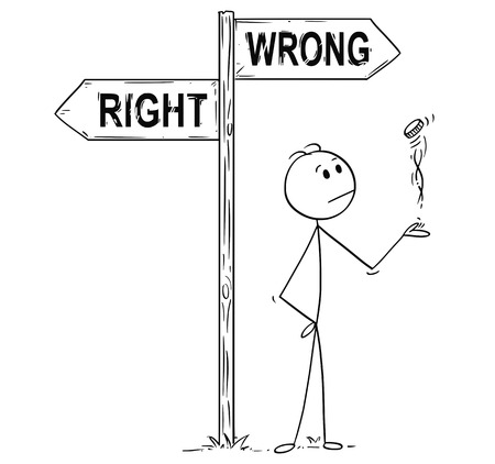 Cartoon stick man drawing conceptual illustration of businessman making decision by tossing, flipping or spinning a coin, standing on the crossroad with right or wrong arrow sign. Business concept of luck, coincidence and chance. Illustration