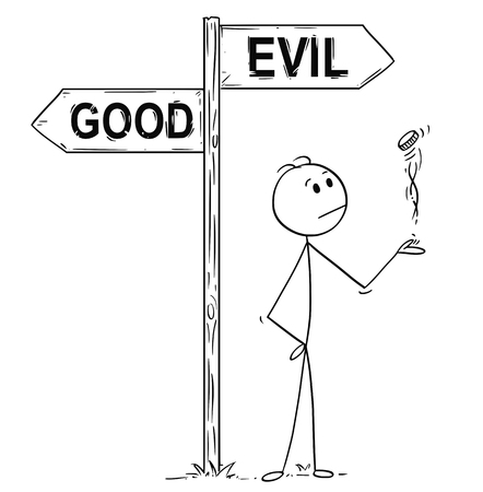 Cartoon stick man drawing conceptual illustration of businessman making decision by tossing, flipping or spinning a coin, standing on the crossroad with good or evil arrow sign. Business concept of luck, coincidence and chance.