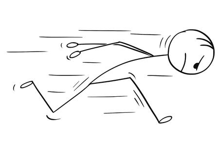 만화 스틱 남자 뭔가 머리에 대하여 실행 headstrong 사업가의 개념적 그림을 그리기. 자신감과 동기 부여의 사업 개념입니다.