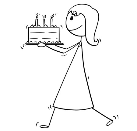 Cartoon stick man drawing conceptual illustration of woman, mother or businesswoman walking and carry birthday cake.
