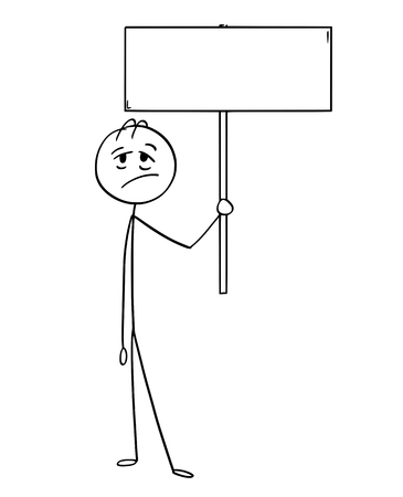 Cartoon stick man drawing conceptual illustration of tired or exhausted businessman holding empty sign