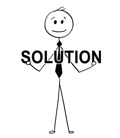 Cartoon stick man drawing conceptual illustration of businessman holding big solution text. Business concept of problem solving.