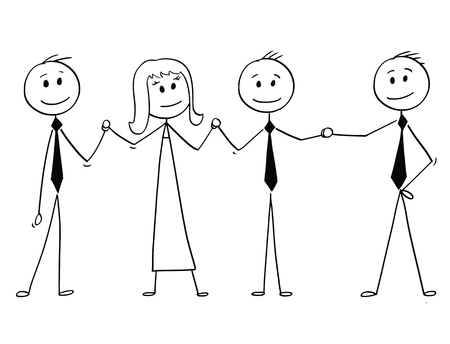 Cartoon stick man drawing conceptual illustration of team of business people standing and holding hands. Business concept of teamwork, success and cooperation.