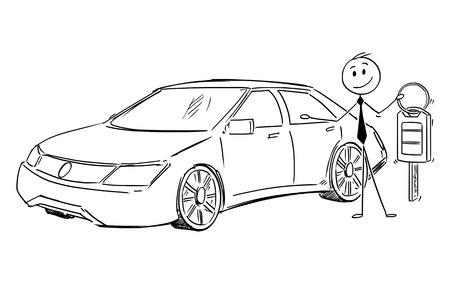 Cartoon stick man drawing conceptual illustration of businessman, dealer or salesman offering car and key. Vectores
